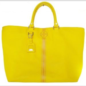 Tory Burch Roslyn Yellow Tote Bag Purse Coated